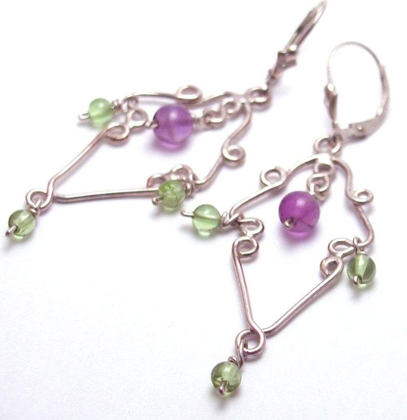 Amethyst and Peridot Chandelier Earrings-Artisan image 0