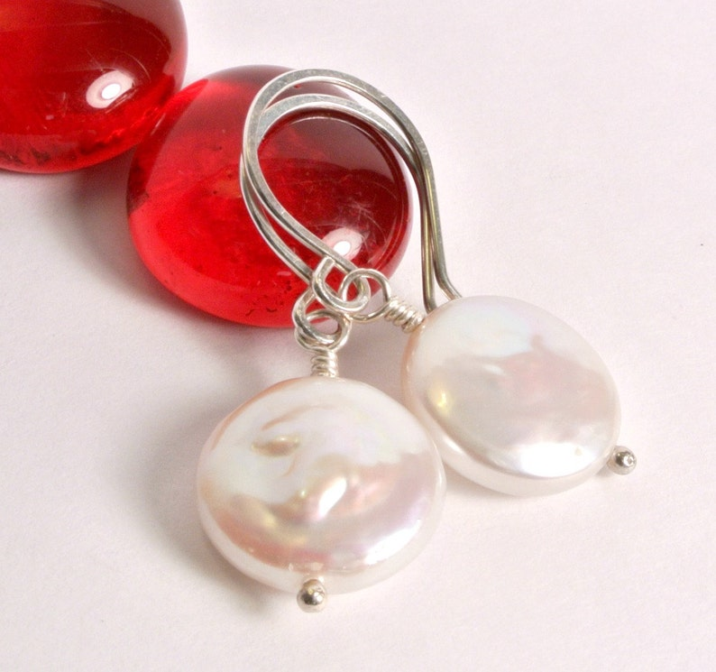 Sterling Silver Coin Pearl Earrings  Freshwater Pearl image 0