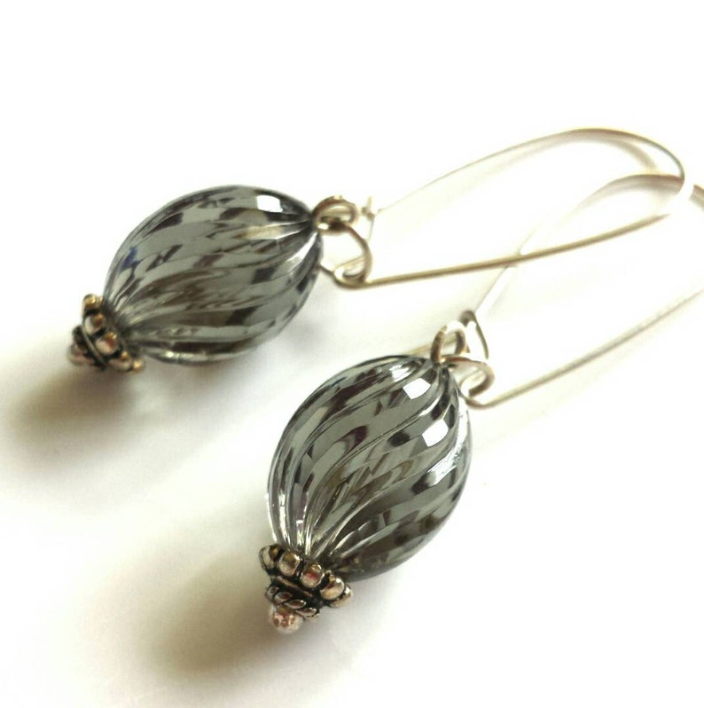 Smoky Grey Lucite Sterling Silver Earrings  Vintage Beads image 0