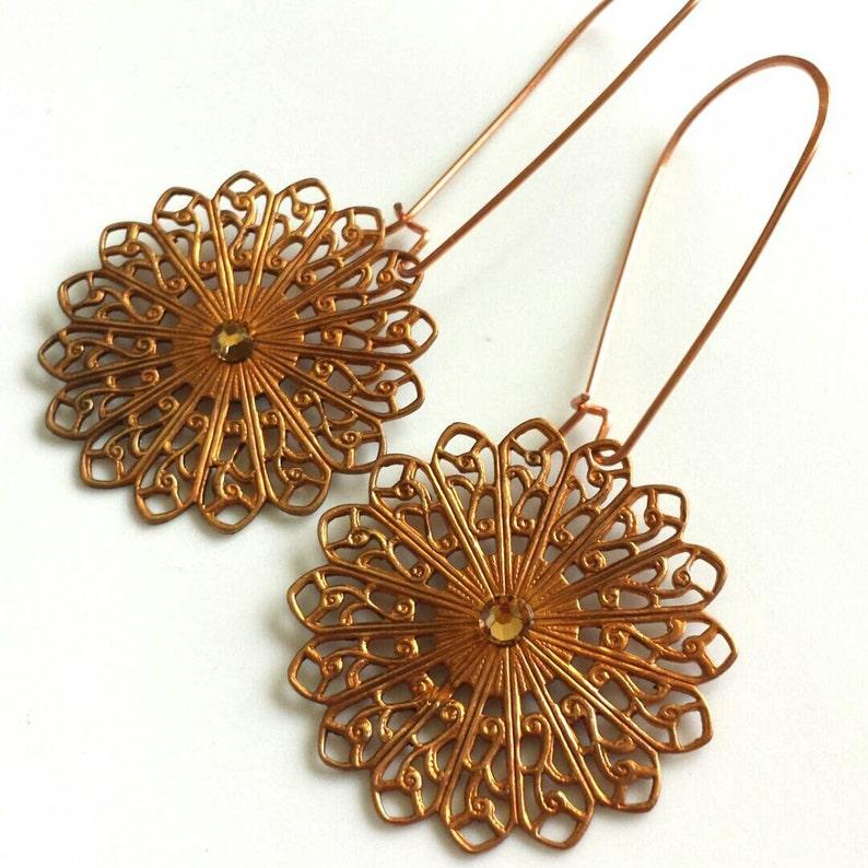 CopperMandala Filigree Chandelier Earrings with Kidney Wires image 0