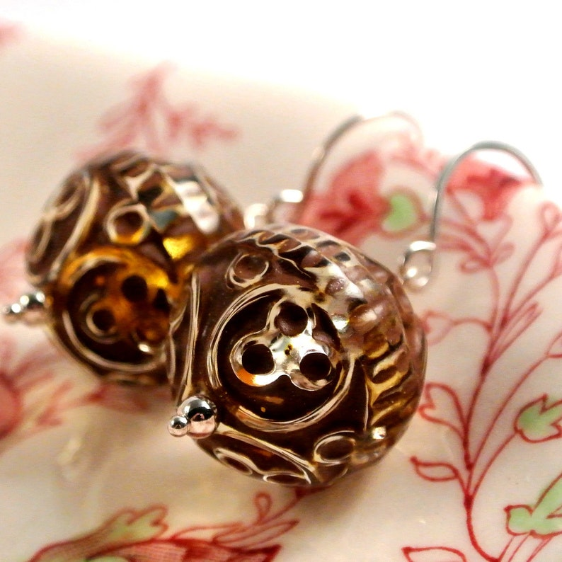 Ornamental Lucite and Sterling Silver Earrings image 0