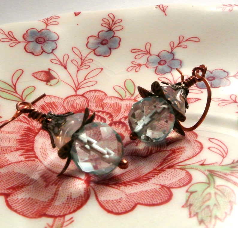 Aquamarine Blue Blossom Earrings  With Handmade Copper Ear image 0