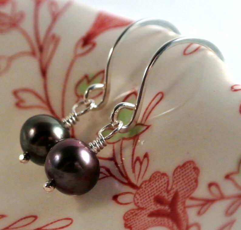 Delicate Black Freshwater Pearl Dangle Earrings Sterling image 0