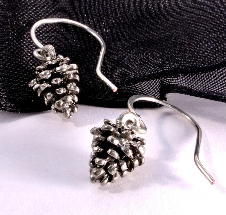 Silver Woodland Pinecone Earrings Handmade image 0