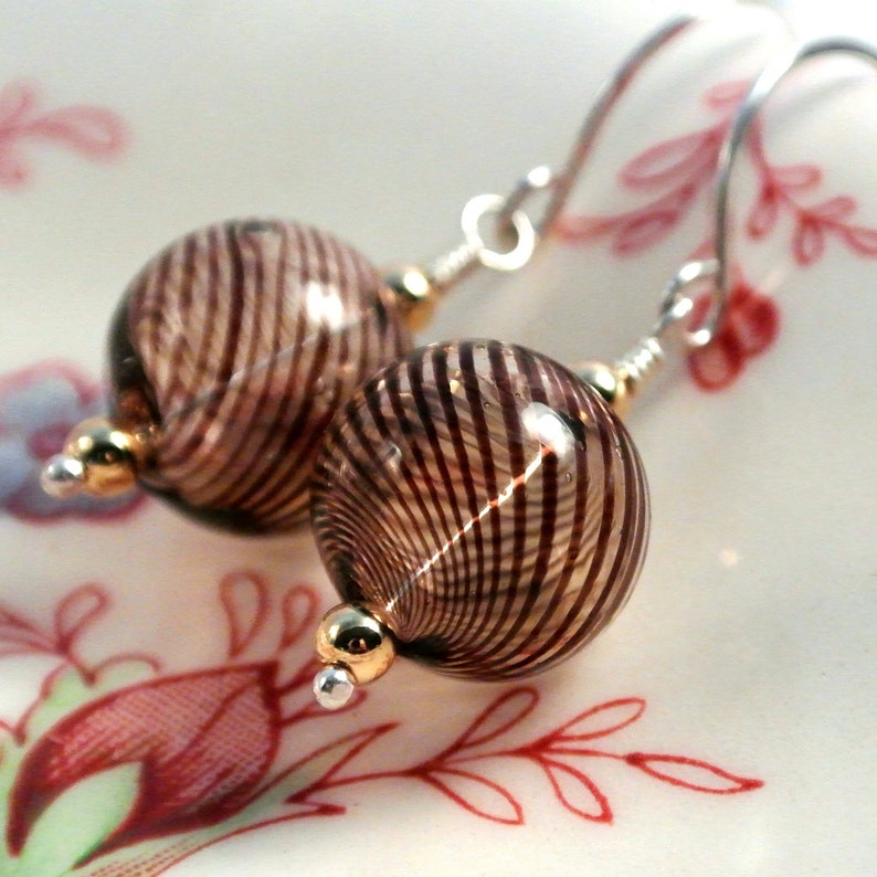 Mocha Brown Blown Glass Ball Earrings Sterling Silver with image 0