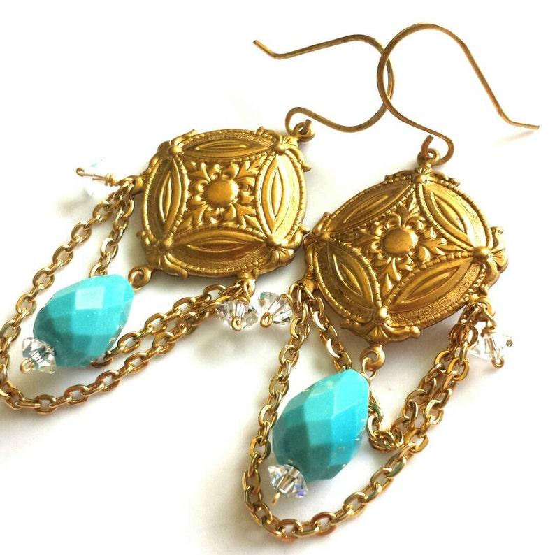 Turquoise Chandelier Earrings with Swarovski Crystal  image 0
