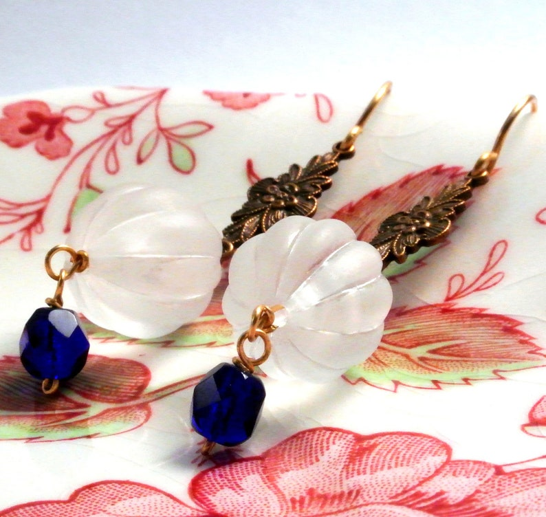 Frosted White Vintage Earrings with Cobalt Blue image 0