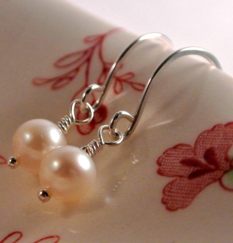 Delicate White Freshwater Pearl Dangle Earrings Sterling image 0