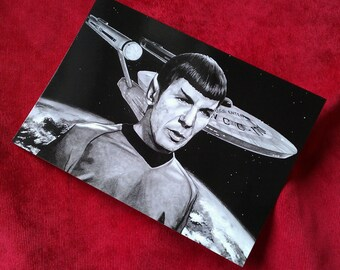 Star Trek A5 gloss postcard print. Mr Spock. Mosaic. Leonard Nimoy. Vulcan