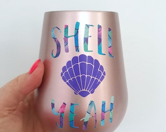 SHELL YEAH Rose Gold 14oz Vacuum-Insulated Stemless Stainless Steel Wine Glass