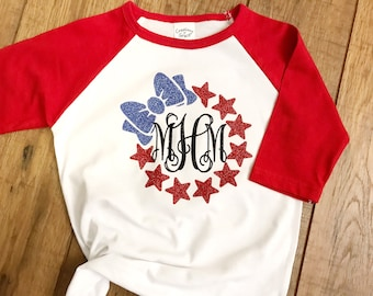 Girls 4th of July Monogrammed Baseball Shirt