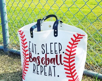 Eat. Sleep. Baseball. Repeat. Tote Bag
