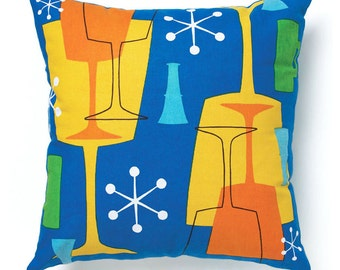 Retro Modern Pillow Cover 18 inch - Blue Cocktail