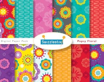 Floral Digital Paper, Starburst Scrapbook Paper, Seamless Digital Patterns, Seamless Floral Pattern