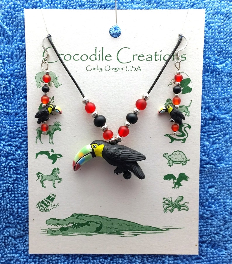 Supports Animal Welfare Toucan Bird Necklace Earring Set Birds