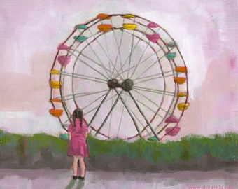 Nursery Art - Giclee print of an original painting digital reproduction for children nursery decor poster girl Ferris wheel - WONDER