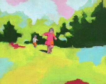 Free - Giclee print of an original painting art reproduction girl nursery art decor poster
