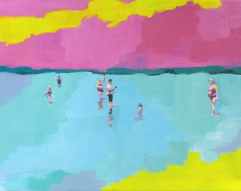 Summer - art print of abstract figurative painting | living room decor wall art | seascape | people at the beach | pink yellow contemporary