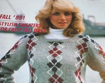 d155de3659251 Sweater Knitting Patterns Fashion Knitting Magazine Fall 1983 Cardigan Coat  Skirt Vintage Paper Original NOT a PDF
