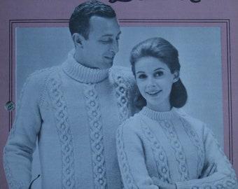 9bd44cbebd62c1 Aran Sweater Knitting Pattern Fisherman Knits Men Women Patons 2043 Worsted  Weight Yarn Vintage Paper Original NOT a pdf