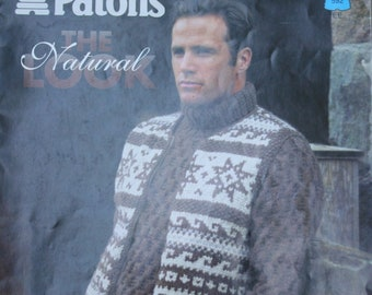 176a2a6514e18 Knitting Patterns Sweaters The Natural Look Beehive Patons 592 Women Men  Aran Worsted and Bulky Weight Yarn Paper Original NOT a PDF