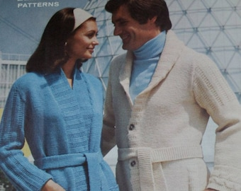 Long Cardigan Sweater Knitting Patterns Men Women King Patterns 2084 Chest Size 32 to 42 Inches Worsted Weight Yarn Paper Original NOT a PDF
