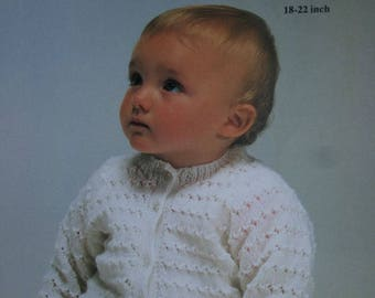 Baby Knitting Pattern Cardigan Sweater Robin 13637 Chest Size 18 - 22 inches 46 - 56 cm 4 Ply Weight Yarn Vintage Paper Original NOT a PDF