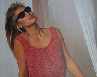 Tank Top Knitting Pattern Bouquet 727 Women Summer Sizes 30 - 40 Inches 76 - 102 cm Sport & DK Weight Yarn Paper Original NOT a PDF