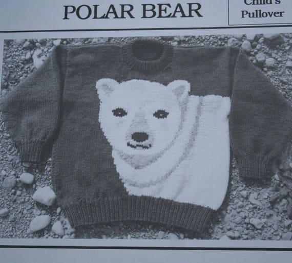 Eisbär Pullover Stricken Muster Kinder Größen 2 bis 8 Ewe kann | Etsy
