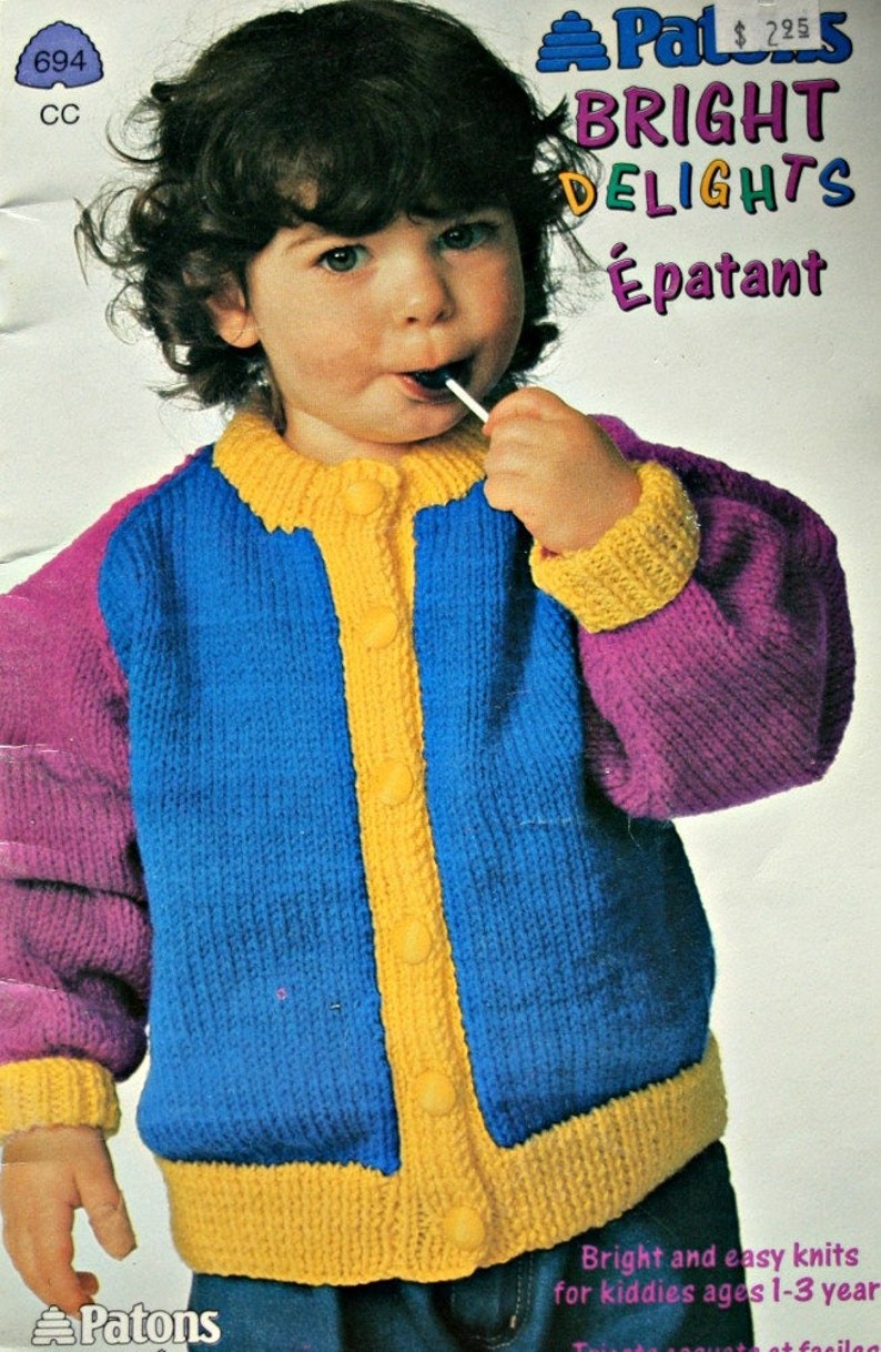 Easy Sweater Knitting Patterns Children Ages 1 3 Years Etsy