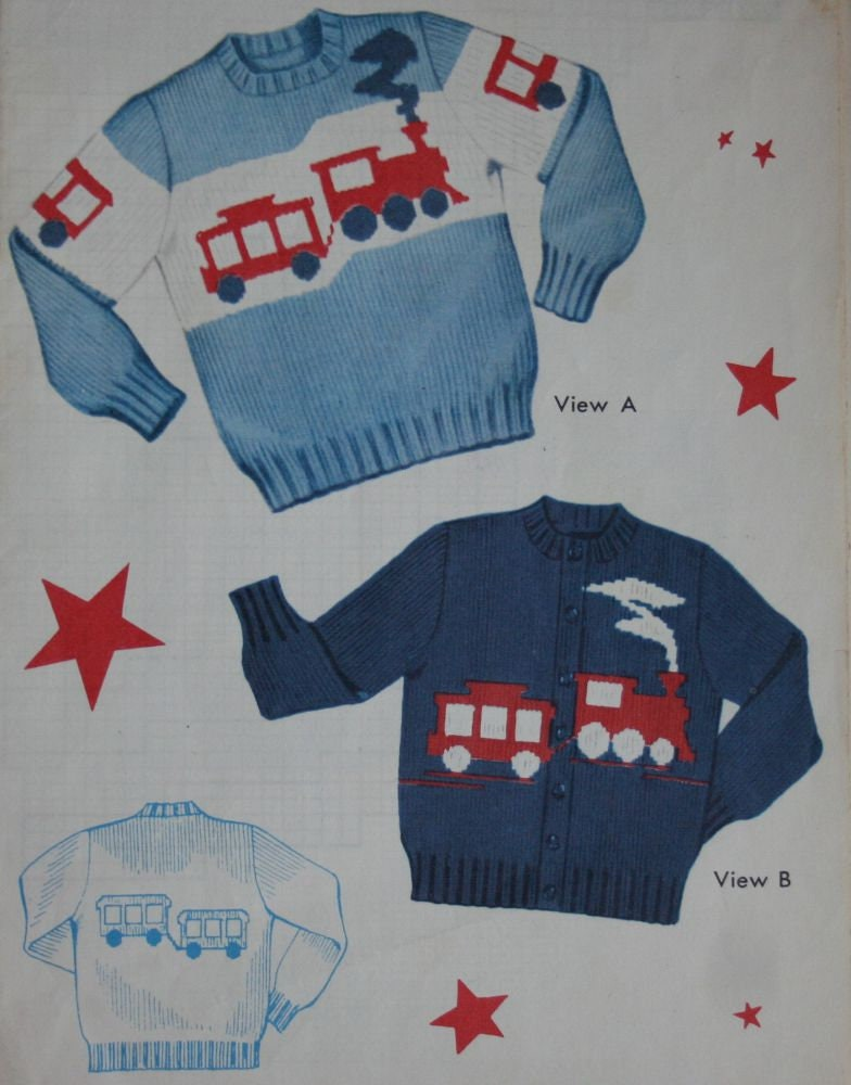 Train Cardigan and Sweater Knitting Patterns Chidren Sizes 2 | Etsy
