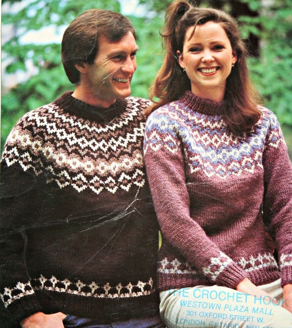 Nordic Sweater Knitting Pattern Patons 1001 Icelandic Men Women ...