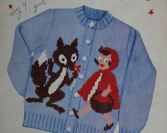 Cardigan Sweater Knitting Pattern Children Little Red Riding Hood Knit O Graf 200 Fingering Weight Yarn Sizes 2 - 8 Paper Original NOT a PDF