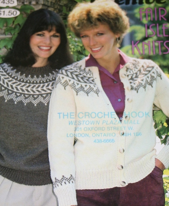 Sweater Knitting Patterns Fair Isle Knits Beehive Patons 435 | Etsy