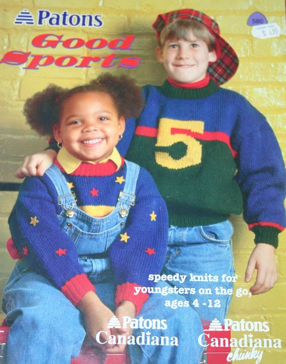 Sweater Knitting Patterns Kids Good Sports Beehive Patons 580 Etsy