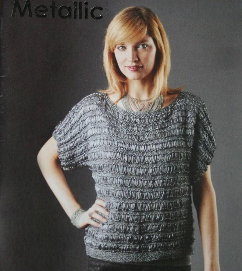 b8e96b14cb52 Sweater Knitting Patterns Crochet Metallic Beehive Patons
