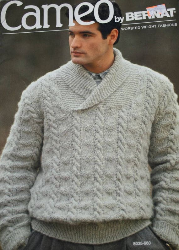 Sweater Knitting Pattern Men Shawl Collar Cameo By Bernat 660 Etsy