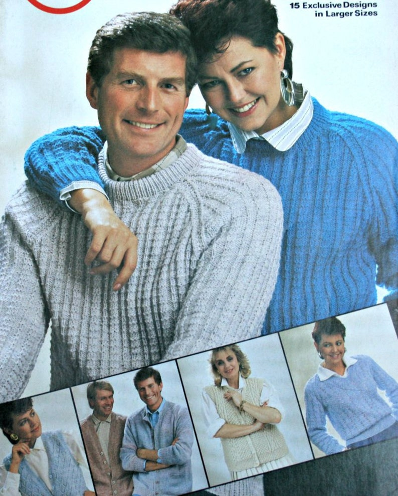 7405de6427ea21 Knitting Patterns Sweaters Vests Plus Sizes Outsize Book Patons 274 Sizes  40 - 54