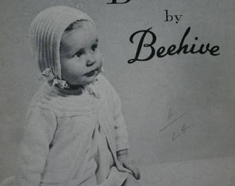 Baby Knitting Patterns Baby Styles in Darvan by Beehive 82 Layette Sweater Bonnet Booties Diaper Cover  Vintage Paper Original NOT a PDF