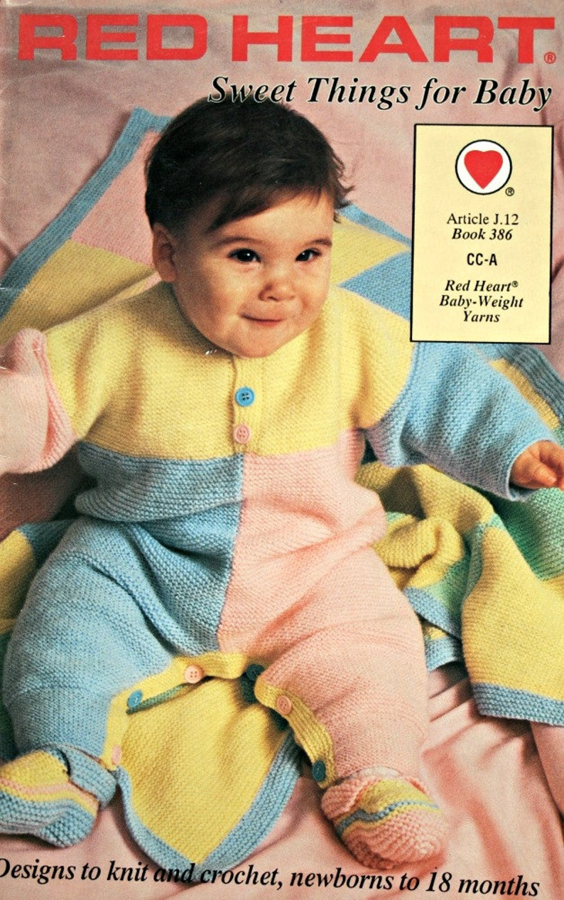 Crochet Patterns Knitting Sweet Things for Baby Red Heart 386 Cardigans  Blankets Sweater Hat Booties Vintage Paper Original NOT a PDF