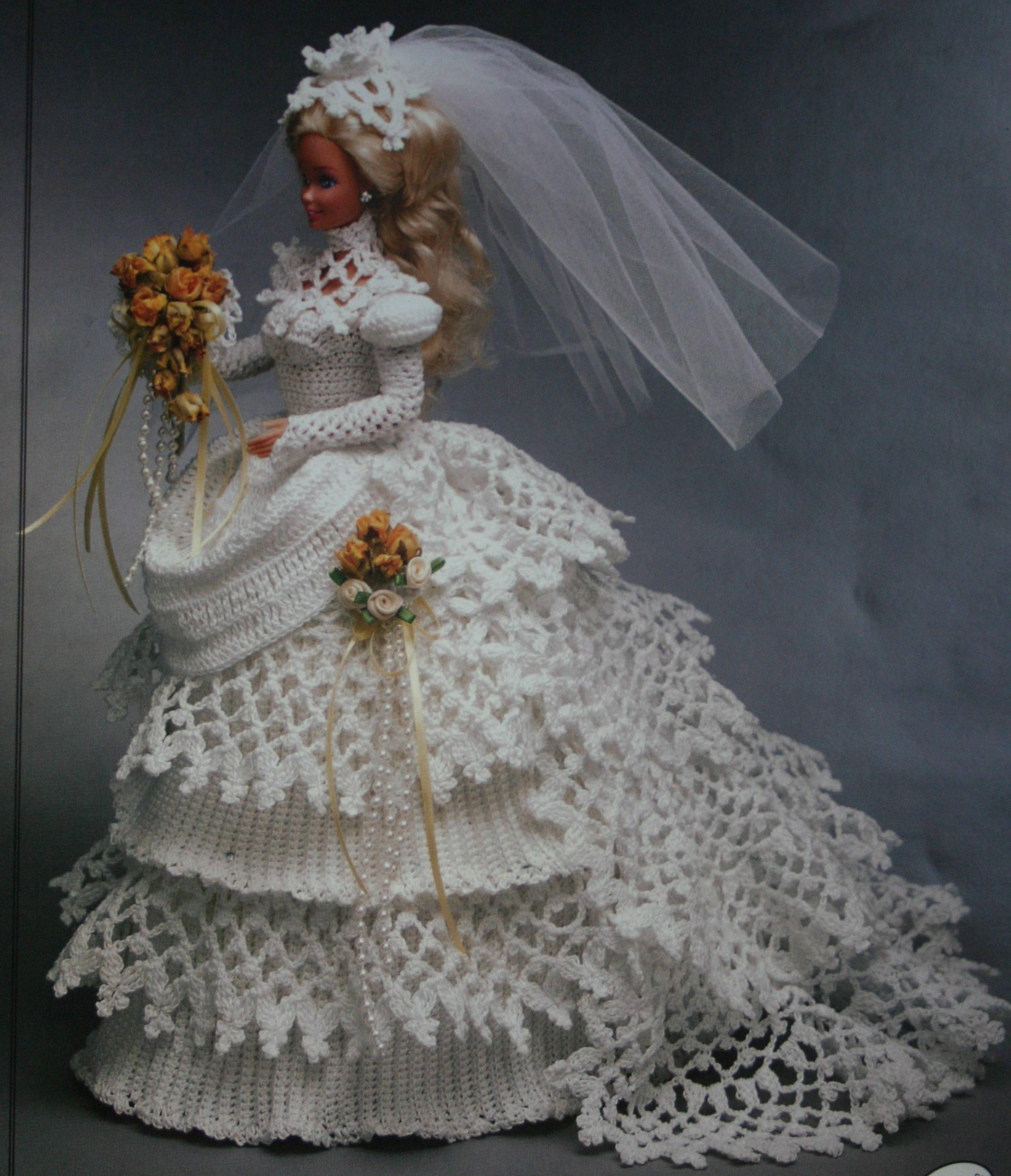 Puppe Hochzeitskleid häkeln Muster 1993 Kollektion Braut