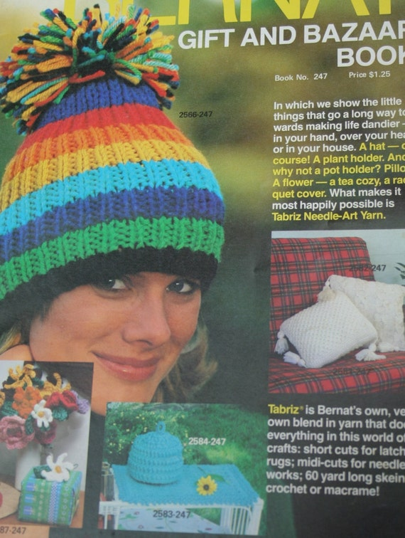 Knitting Patterns Crochet Bernat Gift and Bazaar Book 247 Hat | Etsy