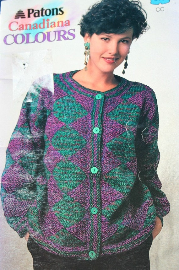 Knitting Patterns Sweaters Cardigan Canadiana Colours Women Etsy