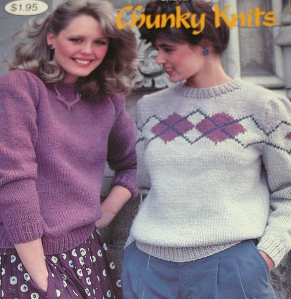 Sweater Knitting Patterns Chunky Knits Beehive Patons 447 | Etsy