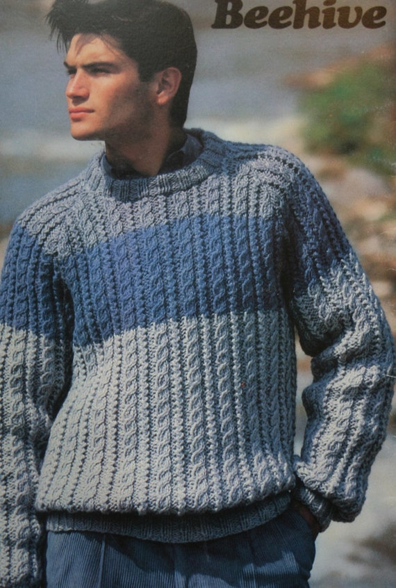 Sweater Knitting Patterns Chunky Choice Beehive Patons 472 | Etsy