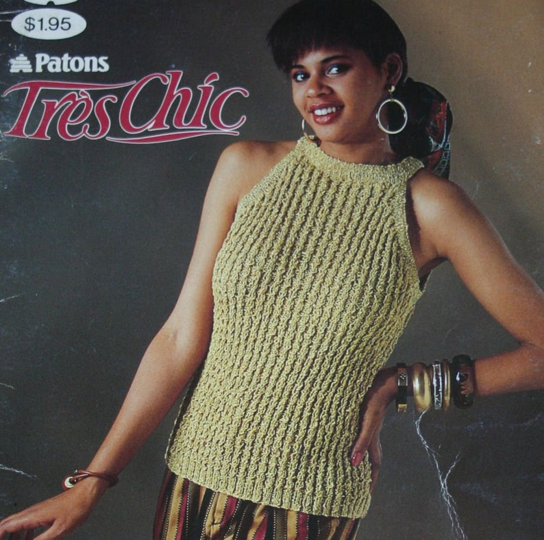 Sweater Knitting Patterns Vests Tank Tops Tres Chic Patons Etsy