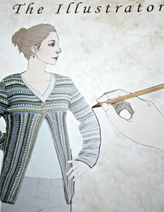 Tejer patrones el ilustrador misión cae mujer papel Original | Etsy