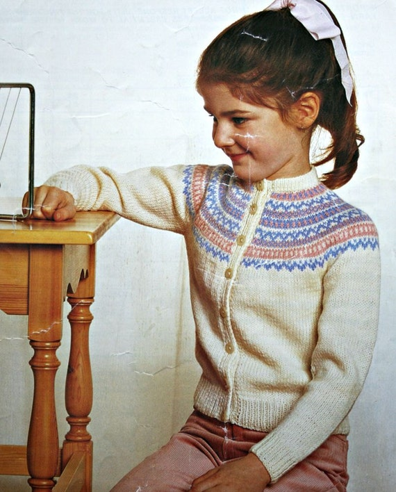 cardigan knitting pattern girl sizes 24 28 inches 64 74 cm etsy. Black Bedroom Furniture Sets. Home Design Ideas