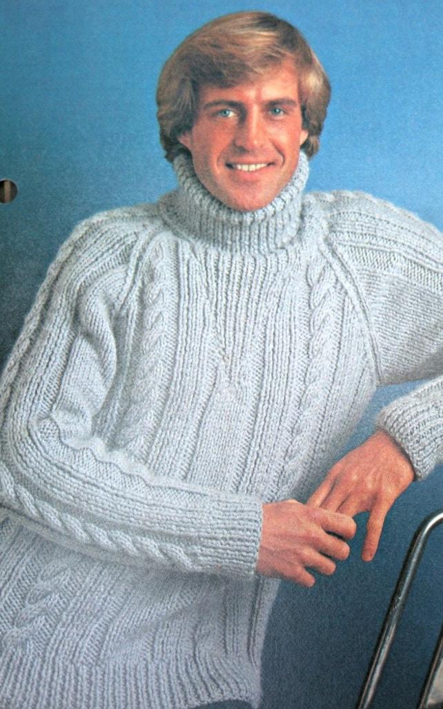 Turtleneck Knitting Pattern Men Sweater Knitting Pattern Sizes Etsy