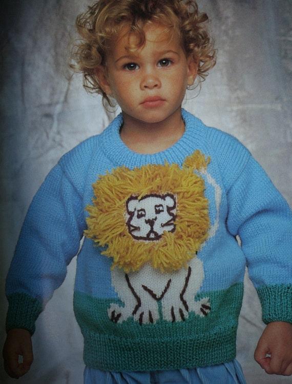 Boys Girls Safari Sweater Giraffe Toy Intarsia Jumper KNITTING PATTERN 20-26in